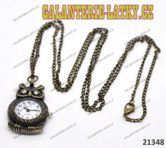 Vintage hodinky sova s řetízkem 82cm