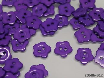 Knoflíky květiny 15mm FIALOVÉ, bal. 10ks