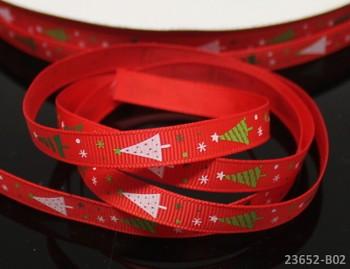 Vánoční stuha červená/ stromečky 10mm, bal. 2m