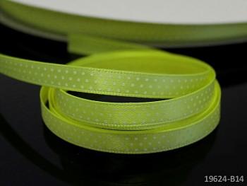 Stuha puntíky 6mm ŽLUTOZELENÁ NEON, svazek 5m