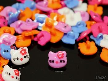 Knoflík KITTY růžový bal. 10ks
