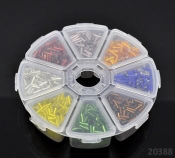 Pestrobarevný mix skleněný rokajl trubičky 7/2mm v boxu