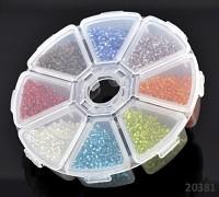 Pestrobarevný mix skleněný rokajl 3mm ČIRÝ MIX v boxu