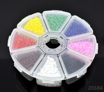 Pestrobarevný mix skleněný rokajl 3mm PLNÝ MIX v boxu