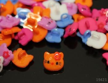 Knoflík KITTY oranžový bal. 10ks