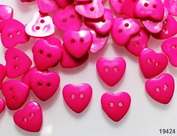 RŮŽOVÉ CYKLÁM knoflíky srdce pryskyřice, bal. 10ks