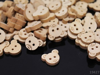 Dřevěné knoflíky MEDVÍDEK, á 1ks nebo 10ks