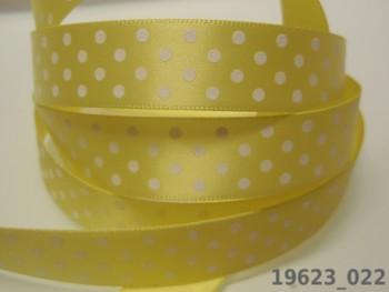 Stuha s puntíky šíře 16mm ŽLUTÁ / bílé, svazek 3m