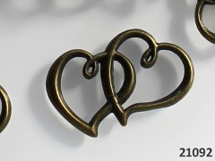Vintage přívěšek bronzový DVOJITÉ SRDCE 32/35, bal. 2ks