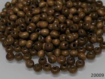 Dřevěné korálky 8mm HNĚDÉ, bal. 10g ± 60ks