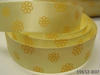 Stuha saténová šíře 22mm KVĚTY / sv.žluté, svazek 2m