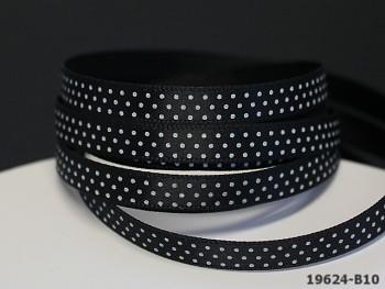 ĆERNÁ stuha s bílými puntíky 6mm, svazek 5m