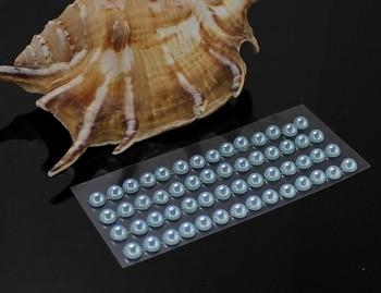 MODRÉ světle  samolepící perly 5mm