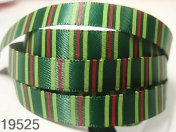 Stuha vánoční zelená /proužky 10mm,  svazek 3metry