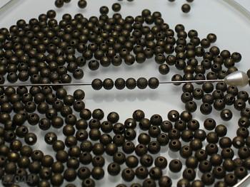 Korálky kovové frost BRONZOVÉ 4mm, bal. 15ks