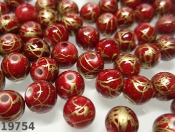 Korálky akrylové červenozlaté kuličky 8mm, bal. 20ks