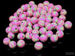 FIMO korálky kuličky 10mm RŮŽOVÉ, bal. 5ks
