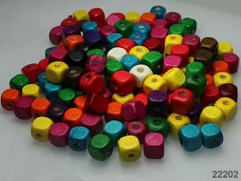 Dřevěné korálky kostky 10/10mm MIX, bal. 13.7g ± 30ks