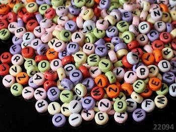 Korálky s písmenky MIX 7/3.5, bal. 4g ± 30-35ks
