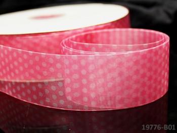 Stuha organzová 38mm vzor PUNTÍKY růžová, á 1m