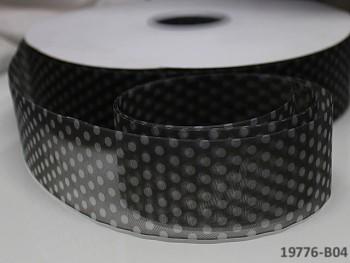 Stuha organzová 38mm vzor PUNTÍKY černá, á 1m