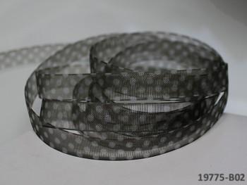 Stuha organzová 10mm vzor PUNTÍKY černá, svazek 3m