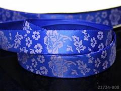 Stuha atlasová 16mm vzor KVĚTY nivea modrá svazek 2m