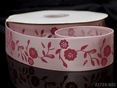 Stuha atlasová 38mm vzor KVĚTY růžová, á 1m