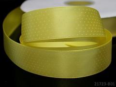 Stuha atlasová 25mm vzor PUNTÍKY žlutá, svazek 2m