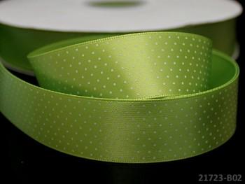 Stuha atlasová 25mm vzor PUNTÍKY zelená limetka, svazek 2m