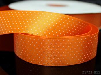 Stuha atlasová 25mm vzor PUNTÍKY oranžová, svazek 2m