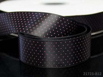 Stuha atlasová 25mm vzor PUNTÍKY černá/růžové, svazek 2m