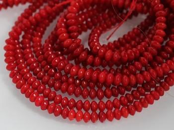 Přírodní KORÁL červený, rondelky 4x2mm, bal. 15ks