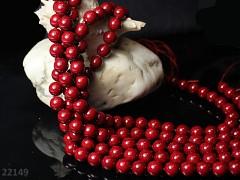 Přírodní PERLEŤ, leštěné perly Ø 8mm výběrové AA kvality červené, bal. 2ks