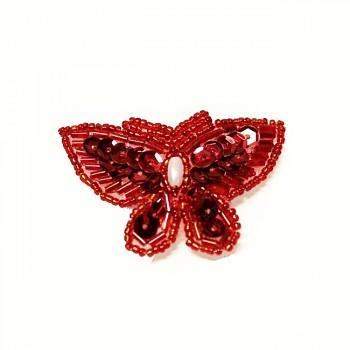 Luxusní nášivka flitrový velký motýl 68/37, á 1ks