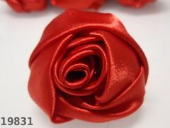 Aplikace saténová velká růže ČERVENÁ 5cm, á 1ks