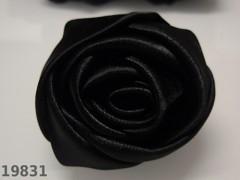 Aplikace saténová velká růže ČERNÁ 5cm, á 1ks