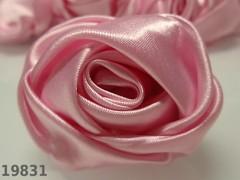 Aplikace saténová velká růže RŮŽOVÁ 5cm, á 1ks
