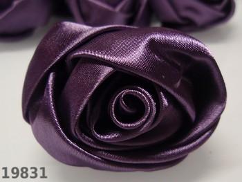 Aplikace saténová velká růže TMAVĚ FIALOVÁ 5cm, á 1ks