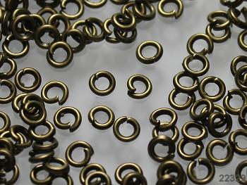 Bižu spojovací kroužky jednoduché 3/0.7mm BRONZ, bal. 5g ± 175ks