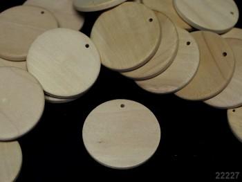 Dřevěný přívěšek kruh 35/3-4mm přírodní, bal. 2ks