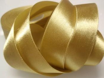 Stuha atlasová perleťová 25mm zlatá, á 1m