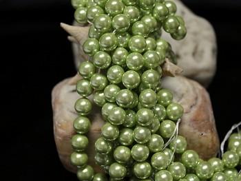 Přírodní PERLEŤ, leštěné perly Ø 8mm výběrové AA kvality ZELENÉ, bal. 2ks