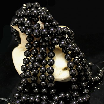 Přírodní PERLEŤ, leštěné perly Ø 8mm výběrové AA kvality ČERNÉ, bal. 2ks