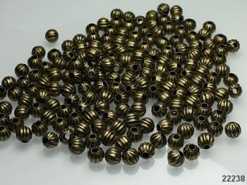 Korálky kovové bronzové 6mm, bal. 7g = cca 25ks