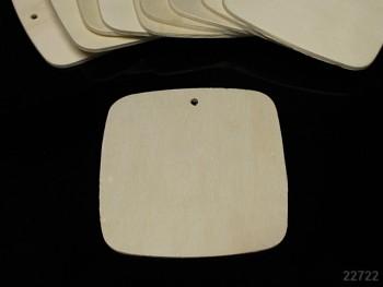 Přívěšek dřevěný k dekoraci oblý čtverec 90/90, á 1ks