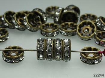 Korálky štrasové rondelky s krystalky bronz, bal. 2ks