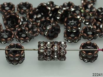 Korálky štrasové rondelky s krystalky měděné, bal. 2ks