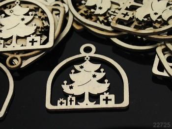 Dřevěný přívěšky vánoční stromeček, bal. 2ks