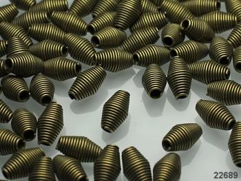 Kaplíky korálky spirály bronzové, bal. 10ks